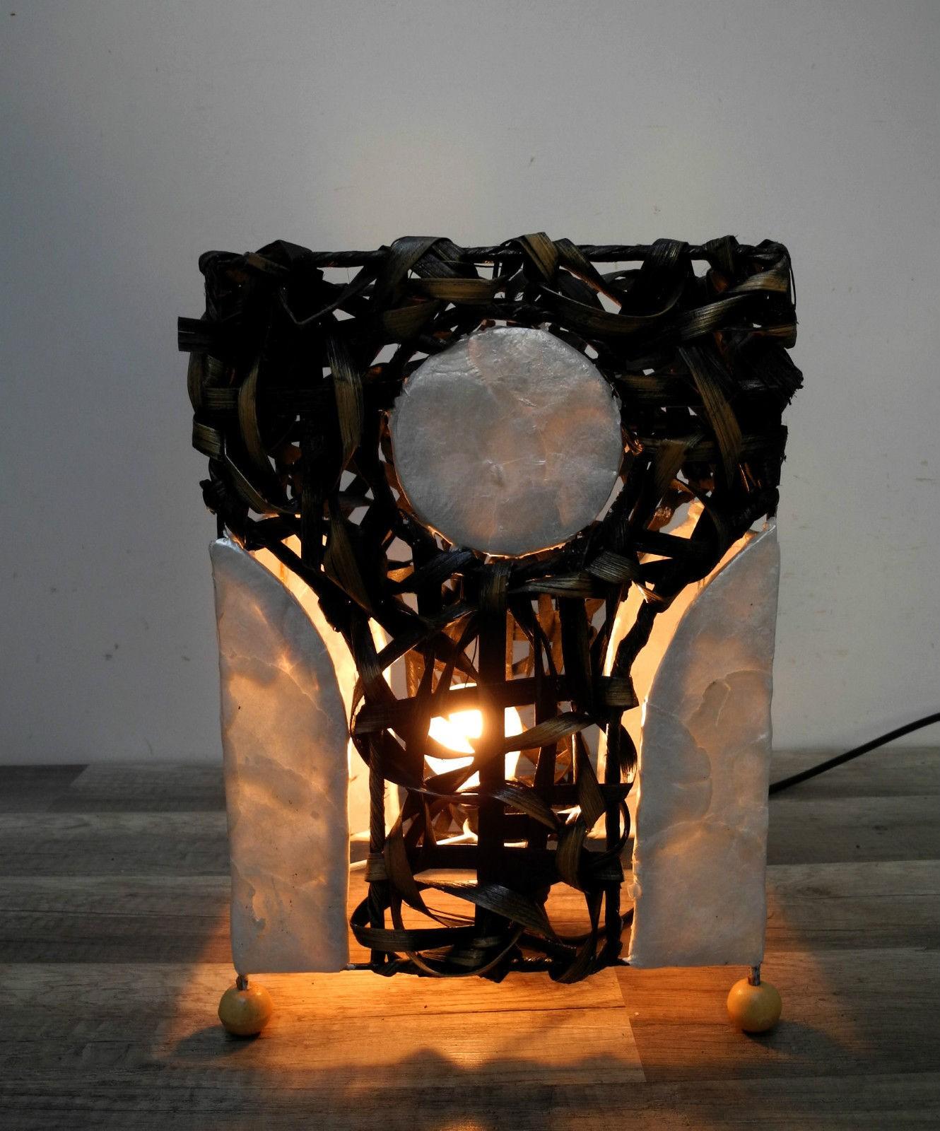 lampe tischlampe orientalisch dekoleuchte wei muschelpl ttchen natur ebay. Black Bedroom Furniture Sets. Home Design Ideas