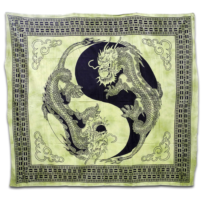 decke wandbehang berwurf tribals indien tagesdecke drachen yin yang ebay. Black Bedroom Furniture Sets. Home Design Ideas