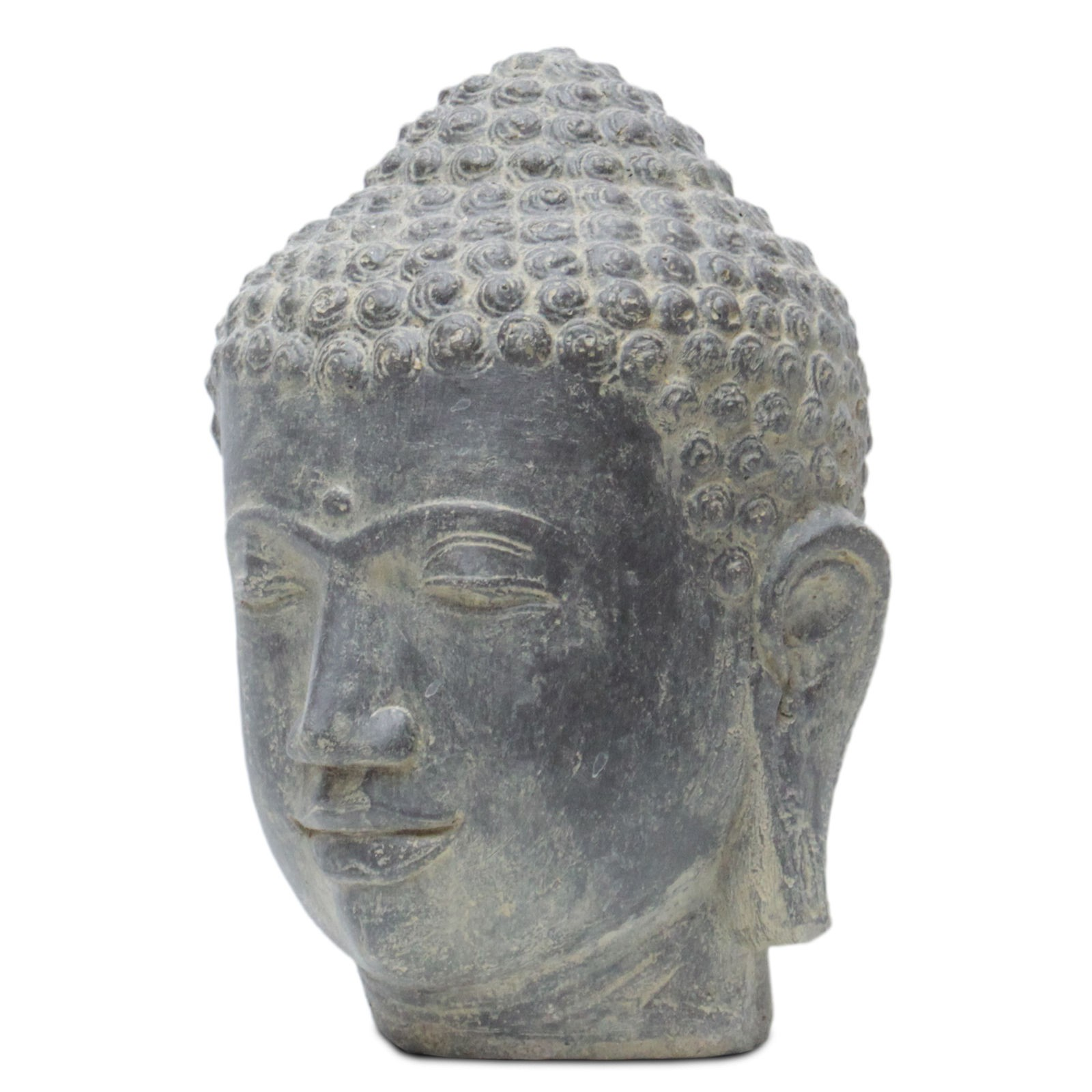 buddha kopf head steinfigur skulptur stein lavasand bali garten deko 33cm ebay. Black Bedroom Furniture Sets. Home Design Ideas