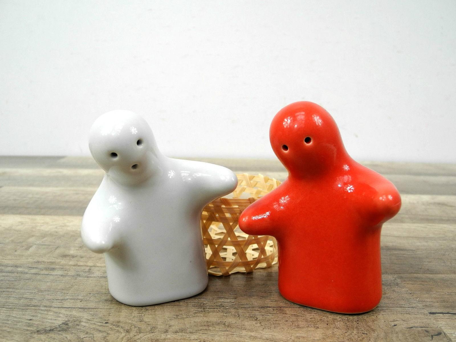 Salz pfeffer streuer set weiß rot männchen keramik deko küche nr. 7363