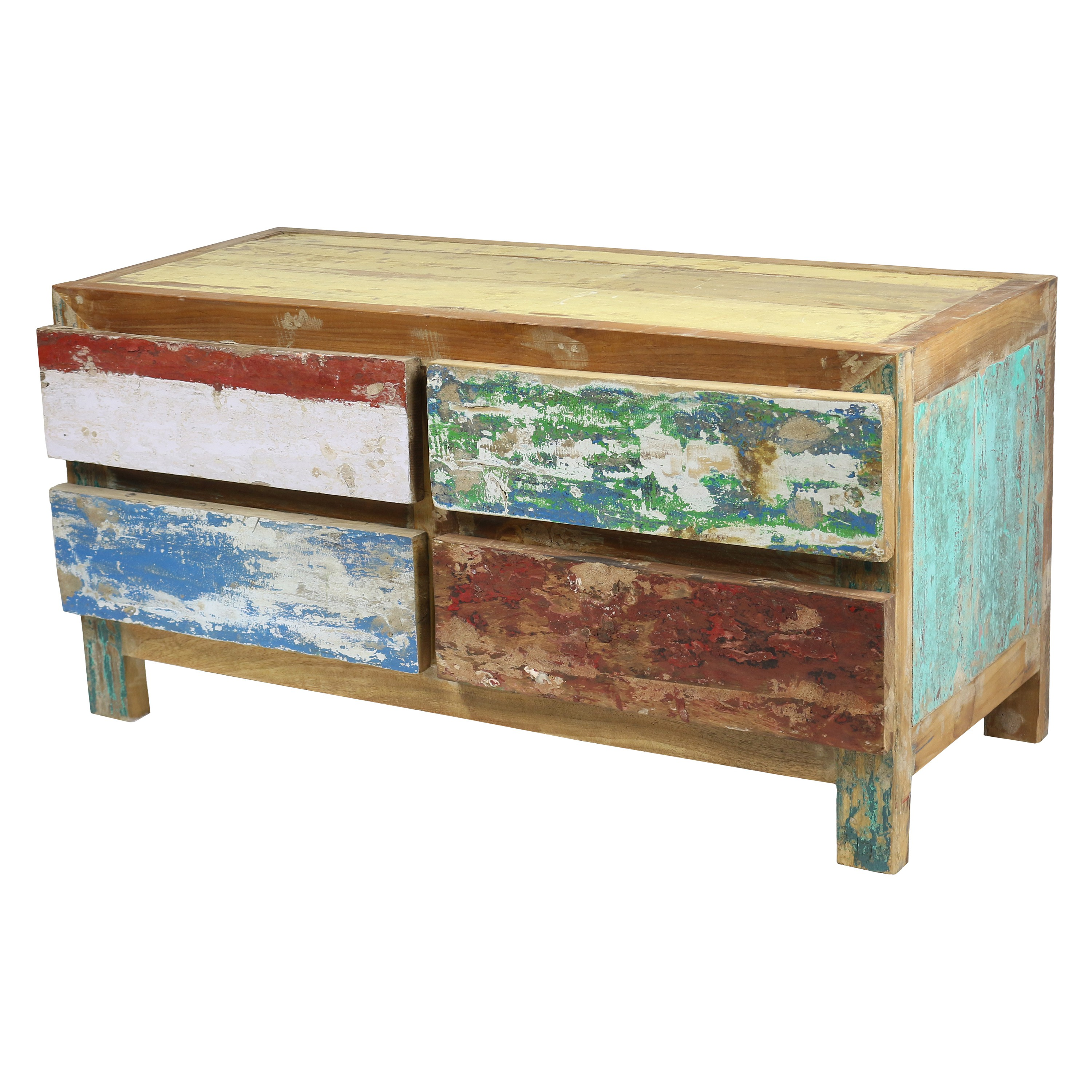 recycling teakholz kommode sideboard schrank upcycling massiv holz 110 cm breit. Black Bedroom Furniture Sets. Home Design Ideas