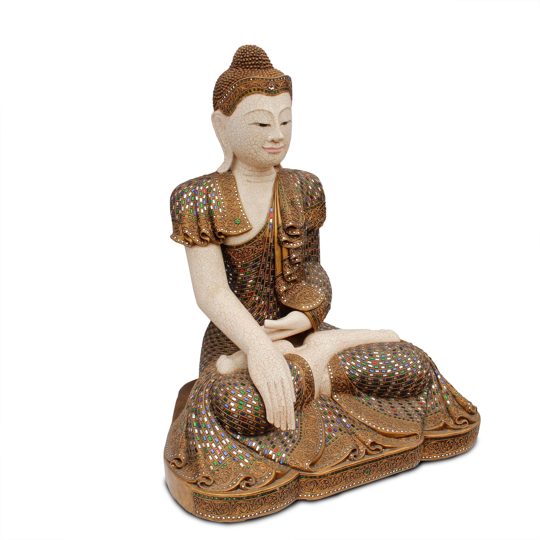 Buddha statue sitzend figur 100 cm holz gold glas mosaik for Buddha figur holz