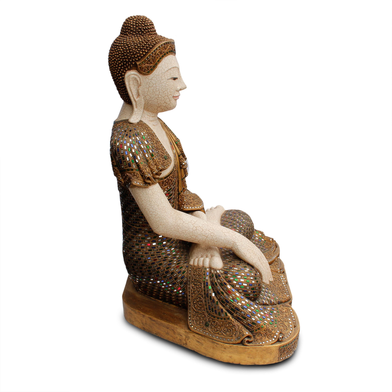Buddha Statue Sitzend Figur 100 Cm Holz Gold Glas Mosaik