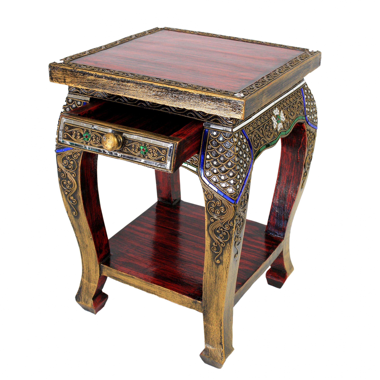 nachttisch hocker beistelltisch ablage opiumtisch holz spiegelsteine rot antik ebay. Black Bedroom Furniture Sets. Home Design Ideas