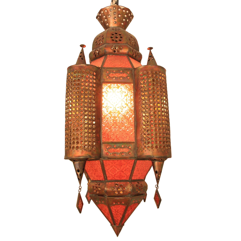 h ngeleuchte orientalisch mit t rmen lampe leuchte dekoleuchte 65 cm rot orange ebay. Black Bedroom Furniture Sets. Home Design Ideas
