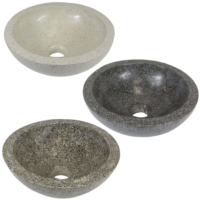 terrazzo aufsatz waschbecken handwaschbecken steinbecken g ste bad cm rund ebay. Black Bedroom Furniture Sets. Home Design Ideas