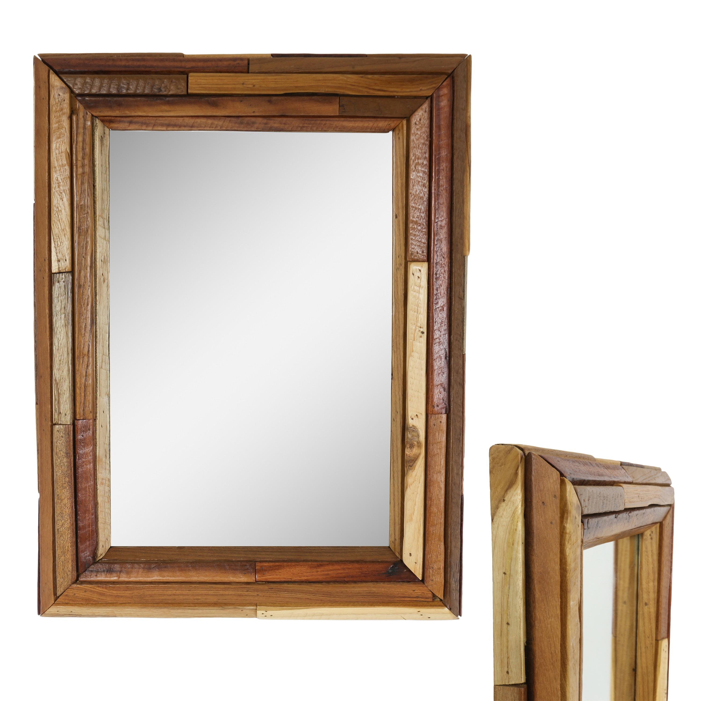dekorativer spiegel mit rahmen aus holzscheiben mosaik. Black Bedroom Furniture Sets. Home Design Ideas