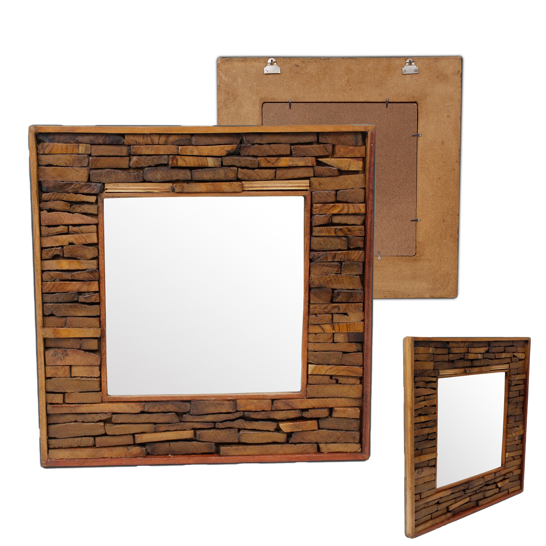 wandspiegel spiegel holzspiegel rahmen holzrahmen thailand massiv ca 50 x 50 50 x 70 80 x. Black Bedroom Furniture Sets. Home Design Ideas