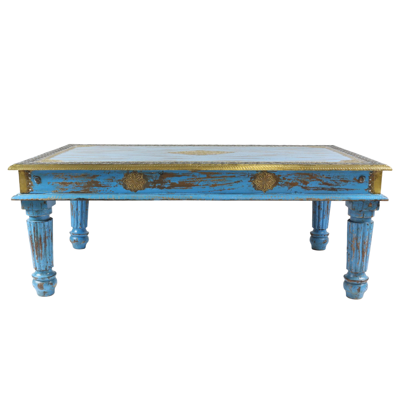 Trkiser Wohnzimmertisch Im Shabby Chic Stil Holz Couchtisch Holztisch Tisch Vintage Retro Nostalgisch Used Look Antik Landhaus 120 Cm Mango M3