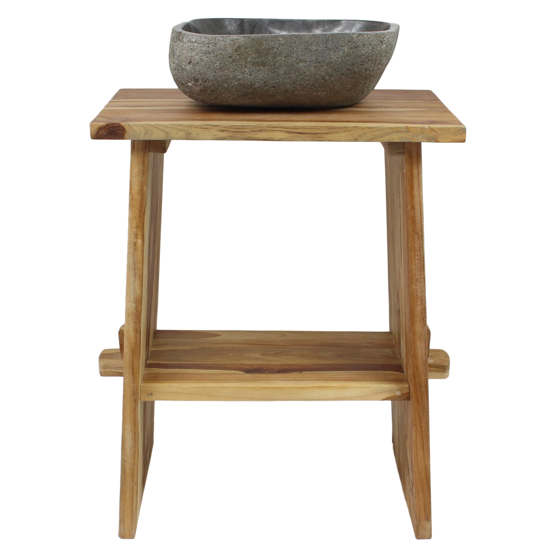 Waschtisch Holz Waschbeckenunterschrank Tisch Badmöbel ... | {Badezimmermöbel teakholz 10}