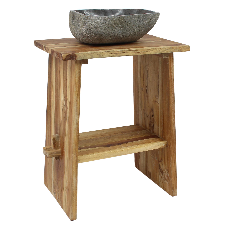 waschtisch holz waschbeckenunterschrank tisch badm bel teakholz natur ebay. Black Bedroom Furniture Sets. Home Design Ideas