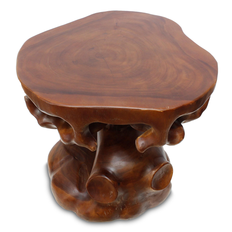 Wohnzimmertisch Beistelltisch Couchtisch Rundtisch Holztisch 60 Cm Schnitzerei Indonesien Natur Holz Teakholz Dunkelbraun HU1 Bild