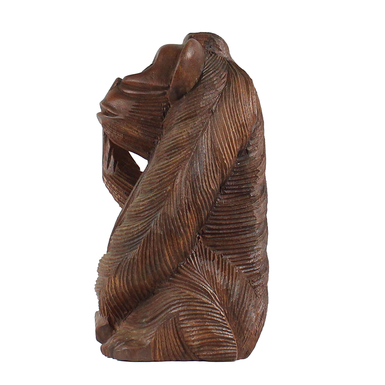 affe aus holz figur skulptur mittelfinger stinkefinger deko tier affenfigur ebay. Black Bedroom Furniture Sets. Home Design Ideas