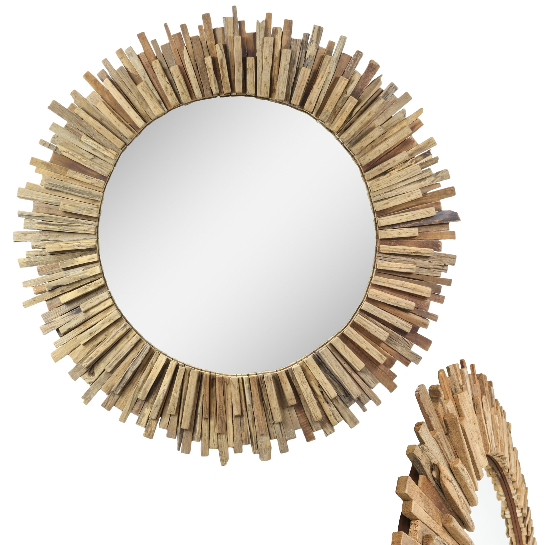 Großer Spiegel Rahmen aus Holzstücken Massiv Holzrahmen Wandspiegel ...