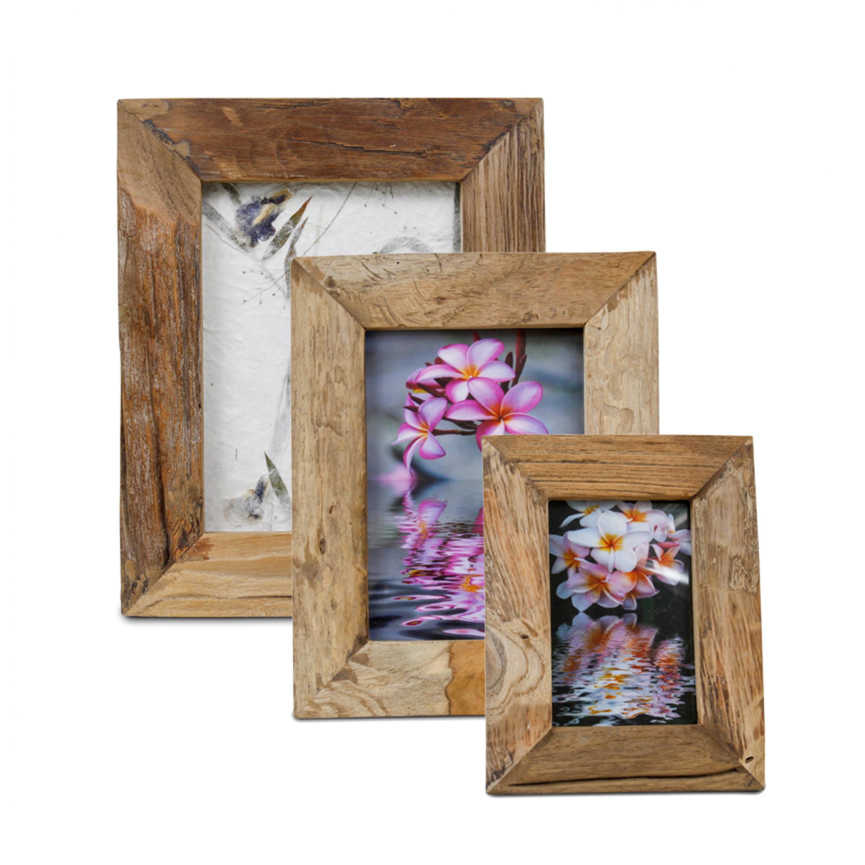 rustikaler bilderrahmen aus holz fotorahmen rahmen landhausstil thailand braun ebay. Black Bedroom Furniture Sets. Home Design Ideas