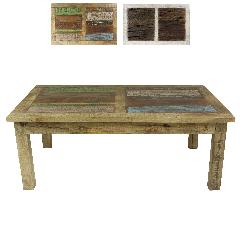 Couchtisch Wohnzimmertisch Holztisch Beistelltisch Aus Indien Mangoholz Mit Bunten Holzstcken Als Tischplatte Shabby Chic Natur Bunt 120 Cm