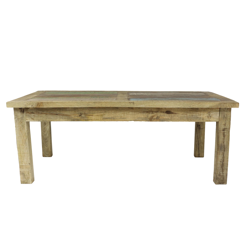 Couchtisch Wohnzimmertisch Holztisch Beistelltisch Aus Indien Mangoholz Mit Bunten Holzstcken Als Tischplatte Shabby Chic Natur Bunt